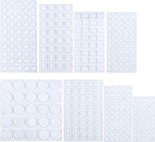 Yosemy 329 Stück Anschlagpuffer Türpuffer Transparent Gummi Anschlagdämpfer Klebstoff Stoßfänger Pads, Elastikpuffer,Möbel Puffer, Sound & Impact Dämpfung für Türen, Schränke,Tastatur - 8 Größen