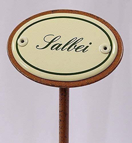 linoows Kräuterschild Kräuterstecker Emaille, Salbei, Erdspieß 25 cm
