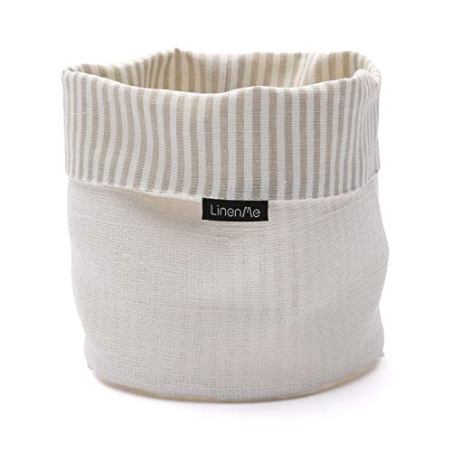 LinenMe, Beige/White Lara Cotton Basket, 6 by 8-Inch, Standard