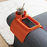 ZOOKINEH Silicone Cup Holder Tray for Arm Chair Couch Caddy Sofa Recliner - Anti-Slip Armrest Remote Control and Cellphone Organizer Holder (4. Orange)