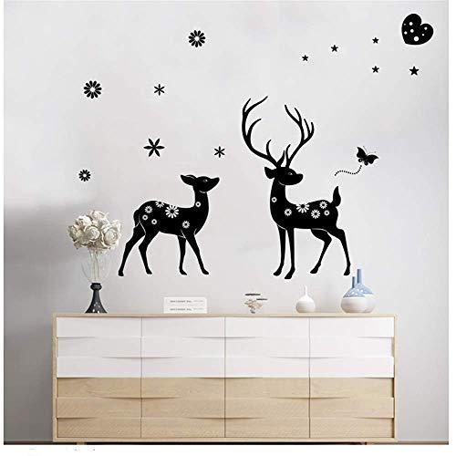 KATTERS Abnehmbare Love Deer Selbstklebende Wandaufkleber Wohnzimmer Sofa Schlafzimmer Nachttisch Hintergrund DIY Dekorative Wandaufkleber 140 * 105Cm
