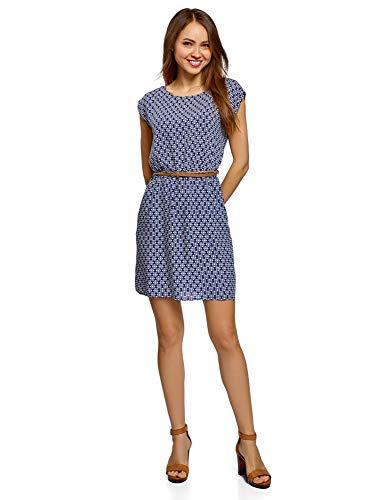 oodji Ultra Damen Viskose-Kleid mit Gürtel, Blau, DE 40 / EU 42 / L