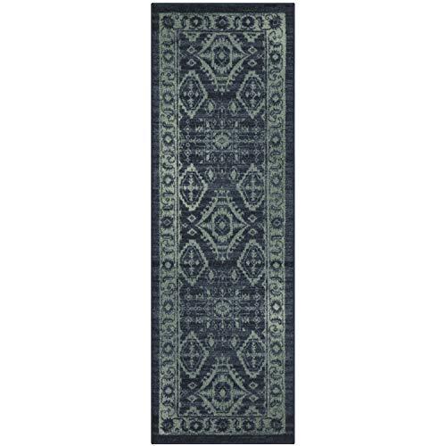 Maples Rugs Georgina Traditional Runner Rug Non Slip Hallway Entry Carpet [Made in USA], 2 x 6, Navy Blue/Green