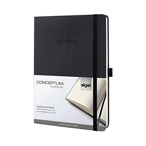 SIGEL CO117 Notizbuch im Tablet-Format, kariert, Hardcover, schwarz, 194 Seiten, Conceptum - weitere Modelle