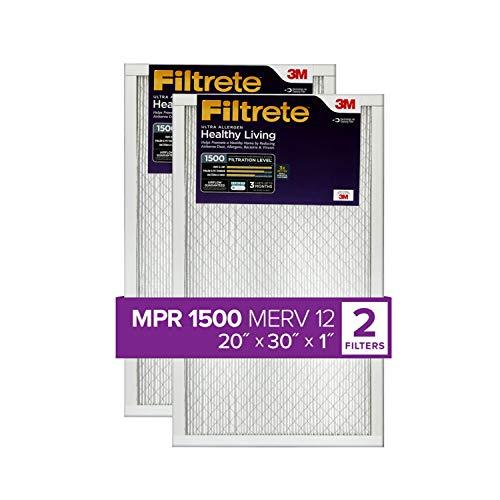 Filtrete MPR 1500 20x30x1 AC Furnace Air Filter, Healthy Living Ultra Allergen, 2-Pack