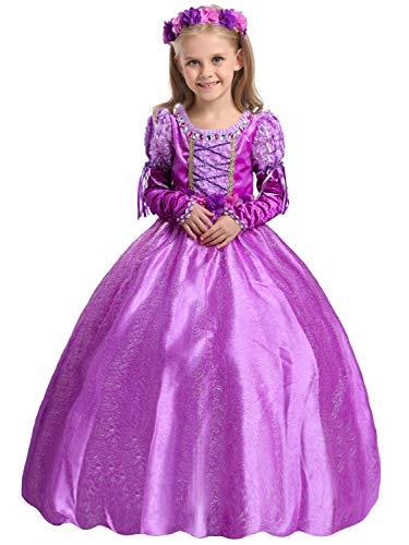 Eleasica Morado Vestido Largo Princesa Rapunzel Infantil Disfraz Lila Princesa Cosplay Rapunzel Complemento Manga de Brazo Cuello con Gema Costume Carnaval Halloween para Niña Pequeña