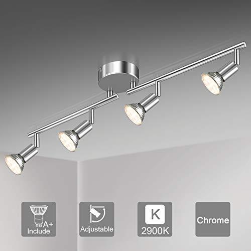 Unicozin LED Deckenleuchte, 4 Flammig LED Deckenstrahler Schwenkbar Chrom, Inkl. 4 x 3.5W GU10 LED Lampen, 380LM, Warmweiß, LED Deckenspot LED Deckenlampe