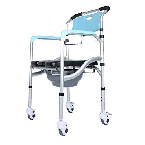 OCYE Opvouwbare nachtkastje Commode, multifunctioneel met toiletpot en kussen, draagbare medische commode stoel douchestoel, verstelbare hoogte, met katrol