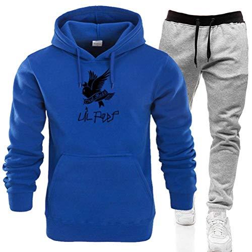 Golden_flower Casual Hoodie Bedrucktes Sweatshirt Kapuzenpullover Bluse Herbst Hoodie Sweatshirt Casual Sporthose Set Street Casual Hooded Herrenpullover Anzug8 blau und grau, XXXL