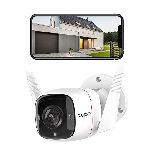 TP-Link Tapo C310 Überwachungskamera Außen, WLAN IP Kamera, 3MP Hochauflösung, 30m Nachtsicht, Bewegungserkennung, IP66 wasserdicht,Alarmmeldung, Zwei Wege Audio,unterstützt Alexa & Google Assistant