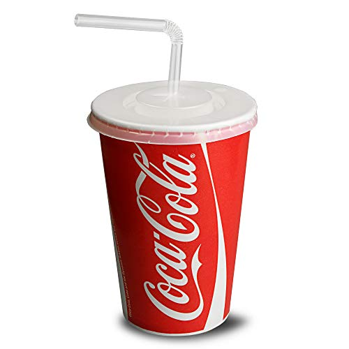 Coca Cola Paper Cups Set 16oz / 450ml - Set of 50 - Disposable Paper Cups with Straws and Lids