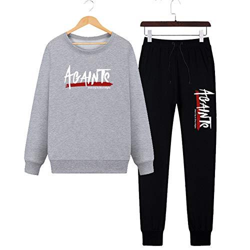 WYX Herren Trainingsanzug, Herbstmode Einfach Lässig Schlank Pullover Set Zweiteiler Sportanzug Sweatshirts + Pants,Grau,XXXL