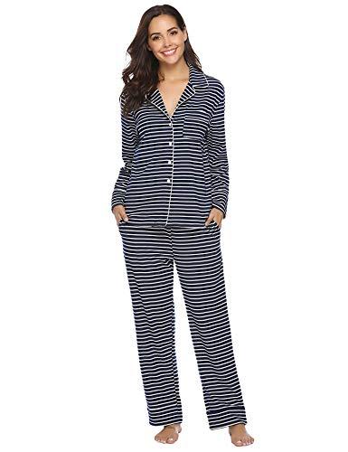 Aibrou Damen Schlafanzug Pyjama Lang Gestreift 100% Baumwolle Winter Warm Nachtwäsche Sleepwear mit Knöpfeleiste Dunkelblau L