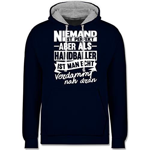 Handball - Niemand ist perfekt aber als Handballer ist man echt verdammt nah dran - XS - Navy Blau/Grau meliert - Niemand ist perfekt Handballer - JH003 - Hoodie zweifarbig und Kapuzenpullover für