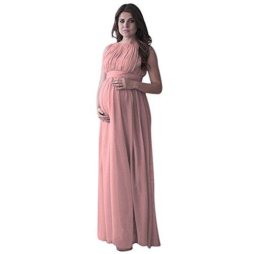 WFRAU Damen Umstandskleid Frauen Blumen langes Fotografie-Kleid Schwangerschafts Kleid Mutterschafts Kleid Fotografie Stillkleid mit Geknotetem Dekolleté Langer Kleid Nachtkleid