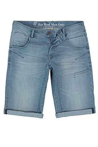 JP 1880 Herren große Größen bis 70, Bleached Jeans-Bermuda, 5-Pocket-Passform, gekrempelter Saum, Straight Fit, Gerade geschnittenes Bein, Bleached Denim 58 721122 99-58