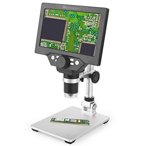 CARYWON Microscope Numérique Portable 7 Pouces écran HD 12 Mégapixels 1-1200X Zoom, Batterie Rechargeable,8 LED Lumière,pour Réparation de Circuits Imprimés Soudure PCB Monnaie