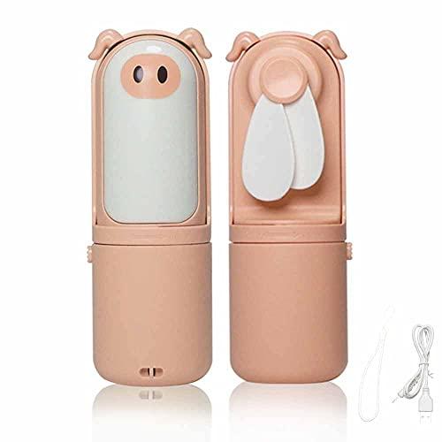 Mini ventilador de mano con luz de noche LED de dibujos animados en forma de cerdo Mini ventilador de carga USB portátil para el hogar