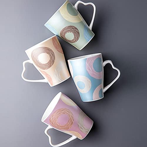 YLMF Juego de 4 Tazas de café de cerámica de 11.5 oz para Amantes de Las Tazas, Gran Capacidad de 350 ml, Apto para el hogar y la Oficina, Horno microondas, Apto para lavavajillas
