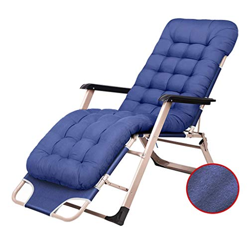 YVX Folding Outdoor Garden Stools Zero Gravity Dining Chairs Deckchair Patio Upholstered Decks Poolside View Deck 180 lb (350 kg) - Blue