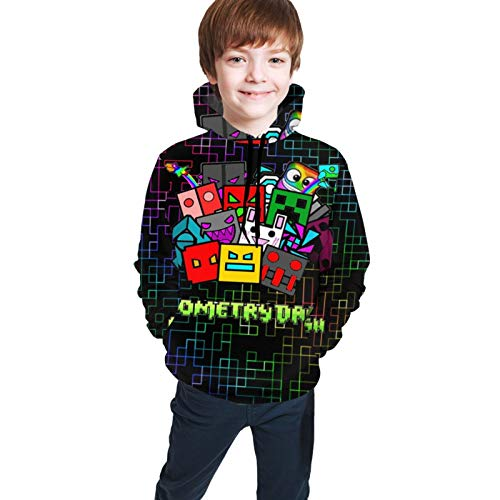 Youth Hoodies Geometry-Dash 3D Printing Boys and Girls Pullover Hooded Sweatshirts 10-12 Years Black