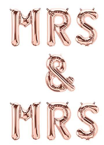 XXL Folien-Ballons MRS & MRS rosé-gold Buchstaben-Girlande Luft-Ballons Schriftzug Höhe 35cm Hochzeits-Deko-ration Homosexuelle Frauen-Hochzeit Zubehör Accessoires Hochzeit Feier Raum-Deko Banner