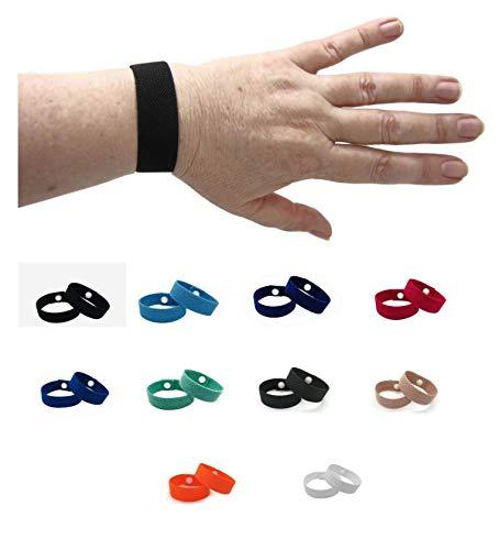 Motion Sickness Bandas de acupresión – Impermeable, elástico Slide-on Náusea Relief Pulsera, Enfermedad de coche, Vértigo (par) (Rosa Pálido, Pequeña)