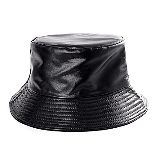 QND,Sombrero,Lindo Reversible Negro Blanco Estampado de Vaca Sombreros de Cubo Hombres Mujeres Verano Sombrero de Sol Gorra de Pescador Viajes Panamá, PU Negro