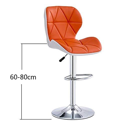 ZCXBHD Liftable Leisure bar stoel barkruk 360 ° draaibare stoel draaibare barkruk gemaakt van PU-leer met rugleuning, oranje