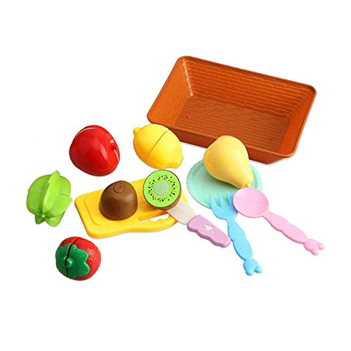 Woote 10/12/18 Pieces Kitchenware Child Vegetables Seafood Fruit Model Enlightenment Toy Hamburger Pizza Kitchenware Girl Cooking Set, Kids Birthday Present (Size : 12 Pieces)