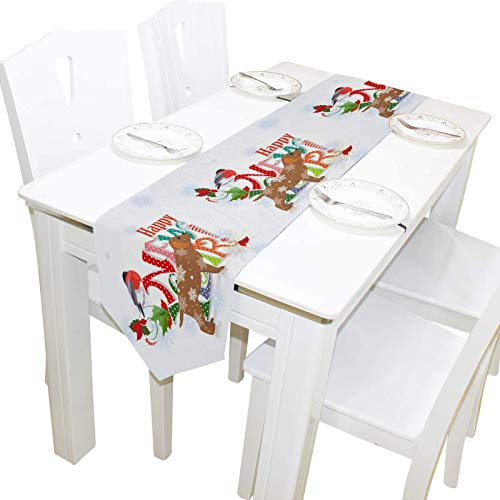 Fairy-Margot Double-Sided Panda Animal Birds Butterflies Table Runner 13 x 90 Inches Long,Table Cloth Runner for Wedding Party Holiday Kitchen Dining Home Everyday Deco