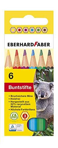 Eberhard Faber 514906 - Hexagonal-Buntstifte, kurz, 6er Kartonetui