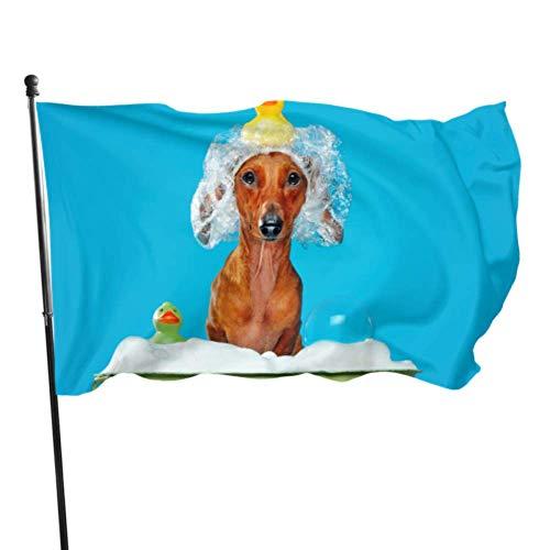 Zemivs Hund nehmen eine Dusche mit Seife und Wasserflagge Druckflaggen Partydekoration 3x5 Fuß vibrierende Farben Qualität Polyester und Messing Ösen