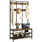YAHEETECH Large Hall Tree Entryway Storage Bench, Industrial Hall Tree with 2 Tier Storage Shelf, Coat Rack Shoe Bench, 3-in-1 Hall Tree with 2 Shelves & 24 Hooks, Rustic Brown