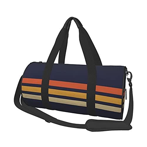 Bolsa de viaje vintage retro con rayas deportivas para hombres y mujeres, pequeña bolsa de viaje para deportes, gimnasios y escapada de fin de semana