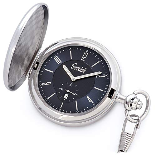"""Speidel Classic Brushed Satin Silver-Tone Engravable Pocket Watch with 14"""" Chain, Navy Blue Dial, Date Window, Seconds Sub-Dial and Luminous Hands w/Engraving"""
