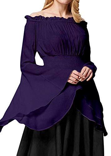 Womens Renaissance Blouse Off Shoulder Trumpet Sleeve Peasant Tops Medieval Victorian Costume (S, Purple)
