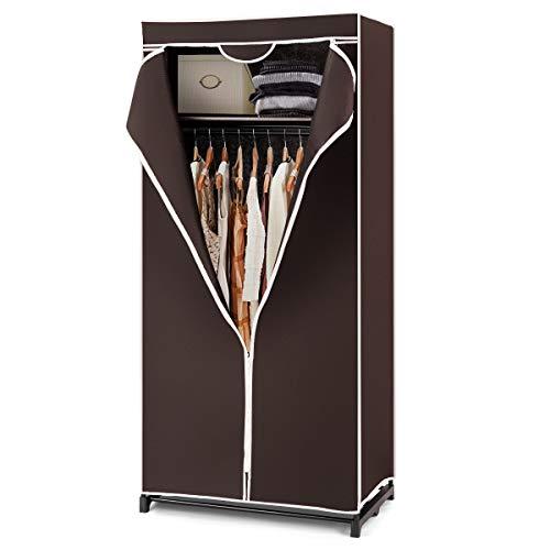 GIANTEX - Armadio Guardaroba in Tessuto Richiudibile, Guardaroba Appendiabiti con Copertura, Armadio da Campeggio per Vestiti, 74 x 50 x 172 cm (caffè)