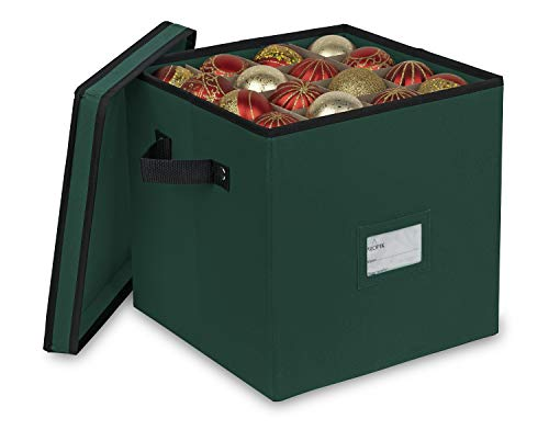 ProPik Christmas Ornament Storage Box, 4 Tier Holds Up to 64 Holiday Ornaments Decoration Balls, Storage Container with Dividers, Made with Durable 600D Oxford Polyester Material (Green)