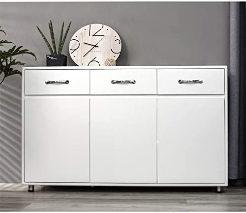 Ssline White Wood Buffet Sideboard Kitchen Server Storage Cabinet Cupboard With 3 Drawers And 3 Doors Modern Simple Buffet Cabinet Entryway Console Side Tables For Living Room Dining Room Kitchen Dining Amazon Com