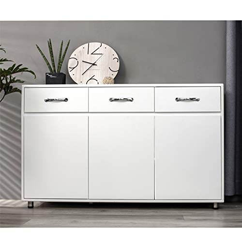 SSLine White Wood Buffet Sideboard Kitchen Server Storage Cabinet Cupboard with 3 Drawers and 3 Doors Modern Simple Buffet Cabinet Entryway Console Side Tables for Living Room Dining Room