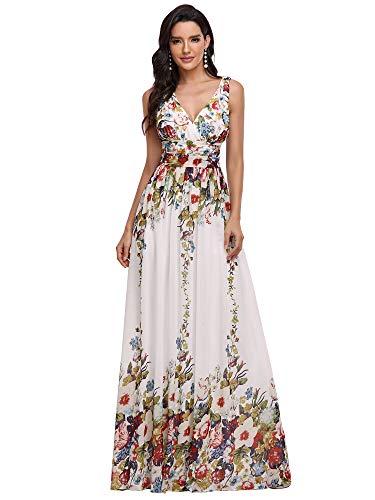 Ever-Pretty Womens Sleeveless V Neck Simple Wedding Dress 16 US Floral Printed