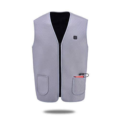 Roboraty Heren Verwarmd Vest, Winter Warm Gilet, USB Geladen Elektrische Verwarming Vest, voor Outdoor Camping Wandelen Jacht en Skiën XL Grijs