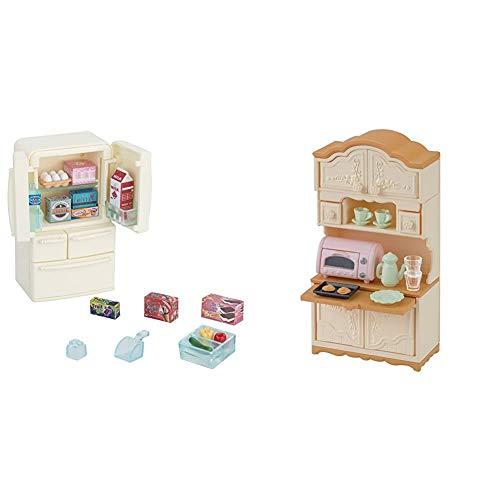 シルバニアファミリー 家具 冷蔵庫セット(5ドア) カ-422 & シルバニアファミリー 家具 食器棚・トースターセット 6.0x3.5x11.6cm カ-419【セット買い】