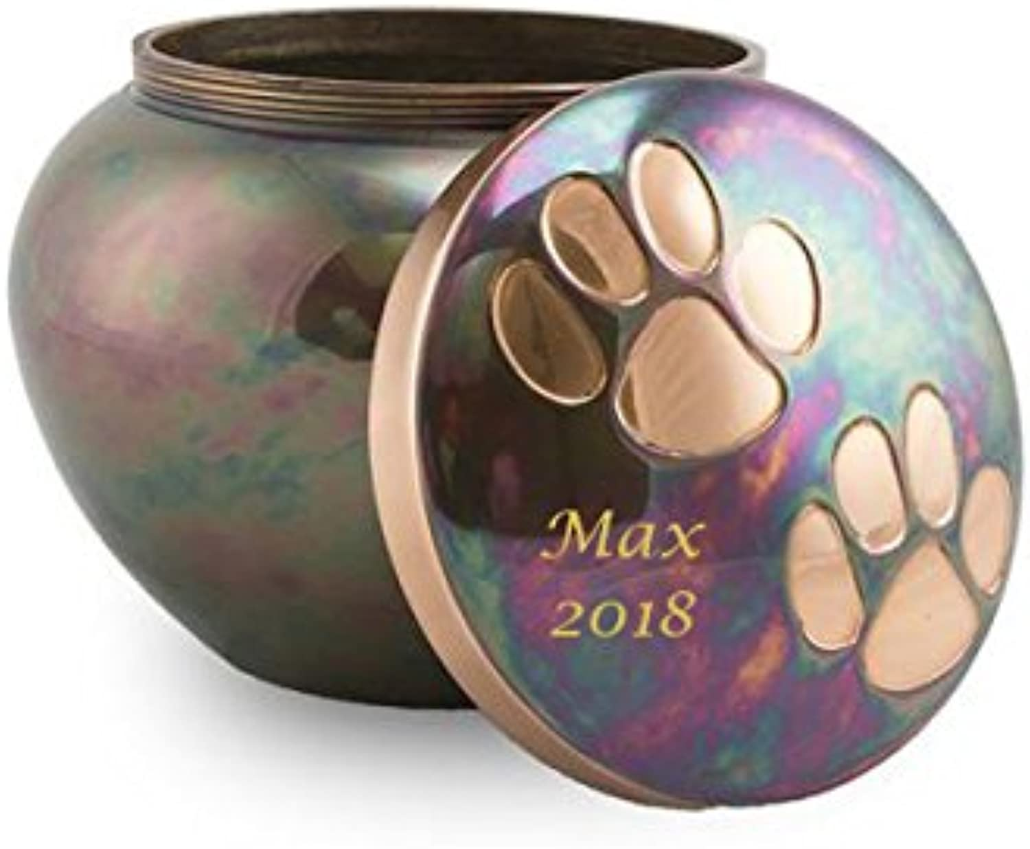 OneWorld Memorials Paw Print Bronze Pet Urn  Medium  Holds Up to 70 Cubic Inches of Ashes  Raku bluee Pet Cremation Urn for Ashes  Engraving Sold Separately