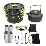 JUNSHUO Kit de Utensilios de Cocina Camping, Aluminio Ligero Juego de Cocina de Olla al Aire Libre de Aluminio Antiadherente con Hervidor para 1 a 2 Personas, para Viajes con Mochila y Senderismo