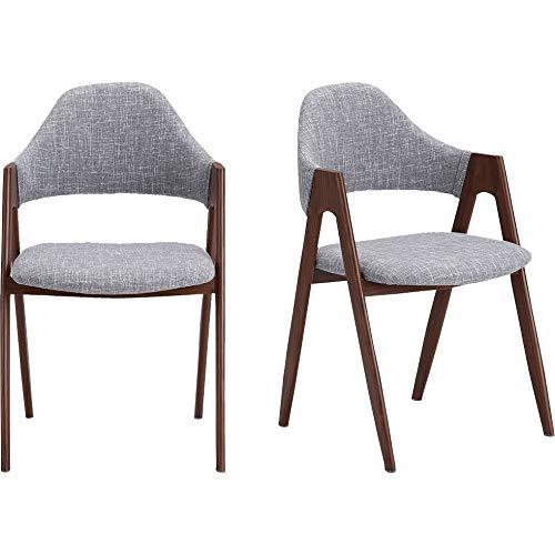 Meubletmoi Lot de 2 chaises en Tissu Gris Clair avec piètement en Acier Finition Imitation Bois - ZAGO 7266