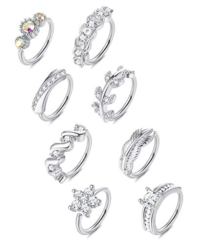 ORAZIO 8Pcs 20G Stainless Steel Nose Ring Hoop Paved CZ Leaf Cartilage Earring for Women Body Ear...