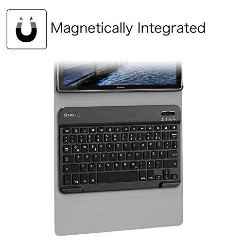Fintie Huawei Mediapad M5 10.8/10.8 Pro QWERTZ Bluetooth Tastatur Hülle - Ständer Schutzhülle mit Magnetisch Abnehmbarer Drahtloser Deutscher Bluetooth Tastatur für Huawei M5 10,8 Zoll, Schwarz - 4
