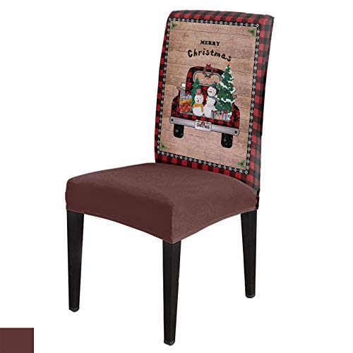 Dining Chair Covers, Stretch Protectors Slipcovers Christmas Tree Snowman on Truck Removable Washable Seat Cover for Home Living/Dining Room Party Hotel Buffalo Plaid Border